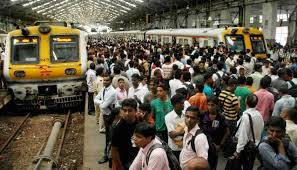 Crowded local trains in Mumbai